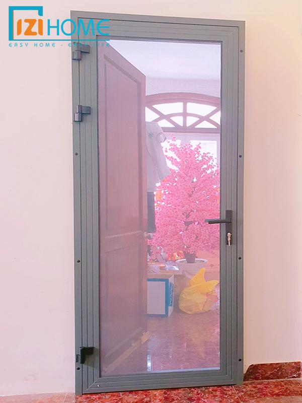 Cửa lưới cánh mở chống cắt, nhôm xingfa, màu xám, lưới inox chống cắt phủ sơn dày 0.7 mm